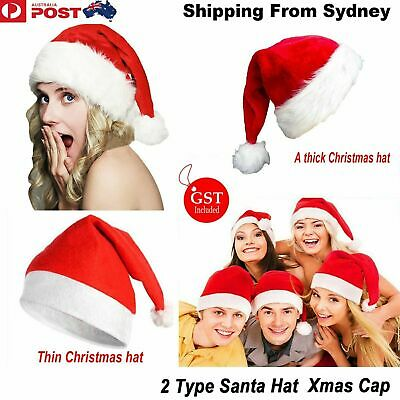 1-5x Christmas Party Baby Adult Santa Hat Red And White Xmas Cap Santa Claus Gif