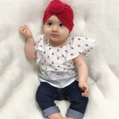 Infant Baby Turban Knot Soft Bunny Ear Hat Cotton Knot Head Wrap Headband US