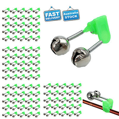 100x Twin Bells Ring Fishing Rod Clamp Bite Lure Alarms Fishing Bells Green Clip