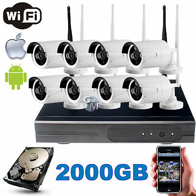 Kit Dvr Nvr Wireless Wifi 4 Canali Ch Telecamere Hd Ir Remoto Android 2000Gb 2Tb