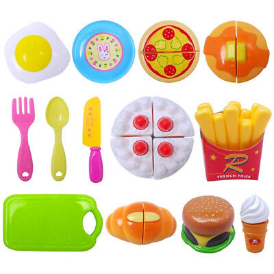 13PCS Kids Pretend Role Kitchen Play Toy Cake Food Cutting Set Educational Toys