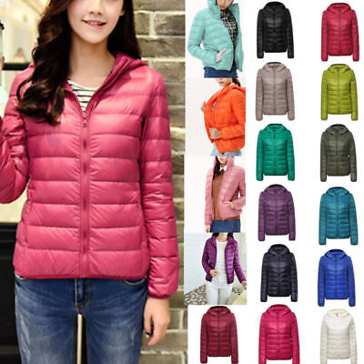 Hot Lady Outfit Solid Women's Ultralight Hooded Down Jacket Puffer Parka
