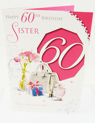 Sister Happy 60th Birthday Greeting Card Envelope Seal Luxury Milestone