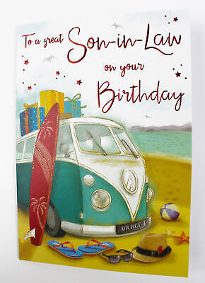 Happy Birthday Son-In-Law Greeting Card & Envelope Seal Quality Verse Him