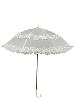 Fancy Dress Prop Umbrella Parasol Vintage White Lace Disney Victorian Halloween