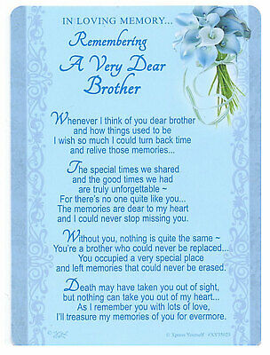 Brother Grave Cards In Loving Memory Bereavement Graveside Memorial Keepsake