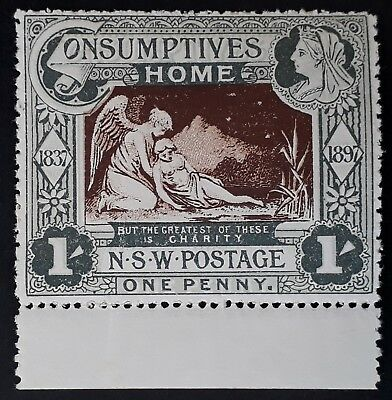 1897- NSW Australia (1d) 1/- Green & Brown Consumptives Home Stamp MUH