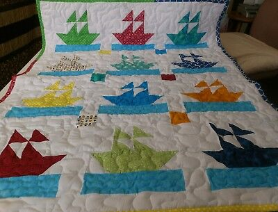 Handmade Boy Girl Pieced Sailor Boat Ship Baby Crib Lap Quilt Many Colors