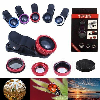 For iPhone XR Samsung S6 Edge S7 3in1 Fish Eye Wide Angle Macro Lens Clip Kit