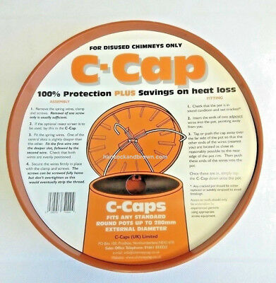 "C CAP Terracotta Chimney Capping Cowl fits disused Chimney Pots Up To 11"" 280mm"