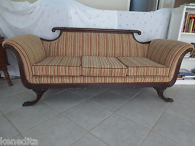 Empire Settee Sofa Federal Lion Claw Foot Duncan Phyfe Style Loveseat Couch