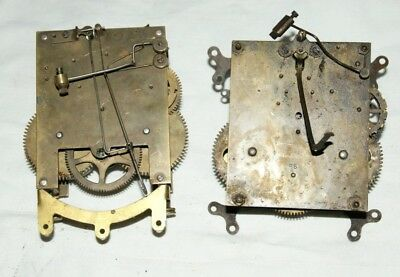 2 x Antique Mantel/Wall Clock Movements, Spares/Repair