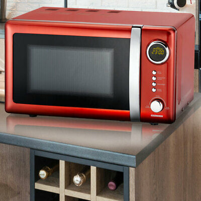 Retro microwave red metallic 700 watts 5 power levels timer 20l cooking space