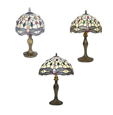 """Tiffany Table Lamps with Glass Shades 3 Sizes 8"""" 12"""" 16"""" (Salisbury)"""