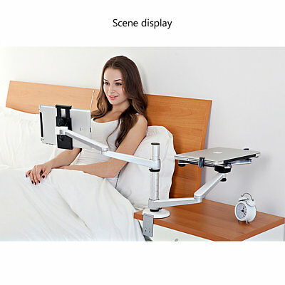 Combination Desk Holder Bracket Stand Mount Dual Arm for Laptop Tablet OY