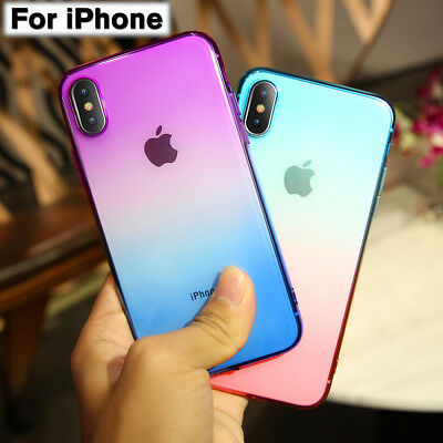 Shockproof Thin Silicone Cover Gradient Transparent Case For iPhone XS Max XR X