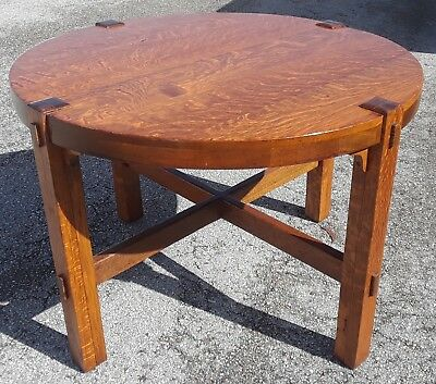 "Antique Stickley Mission Oak Arts & Crafts Movement Tea Table-41"" Round-Restored"