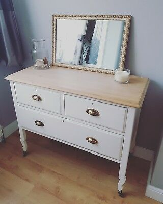 Edwardian dressing table in white with vintage mercury mirror