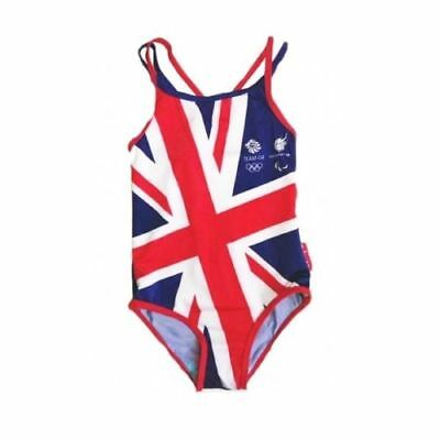 Girls Official Team GB Olympics Paralympics Union Jack Swimming Costume Swimsuit