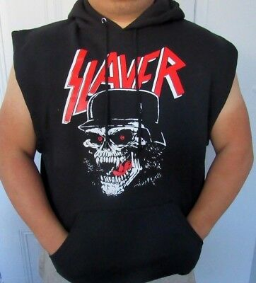 Slayer Skull Sleeveless Hoodies Punk Rock Black Men's Sizes