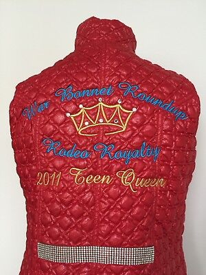 Red Gilet Cowgirl 2011 Teen Queen Body Warmer / Gilet - Excellent Condition.