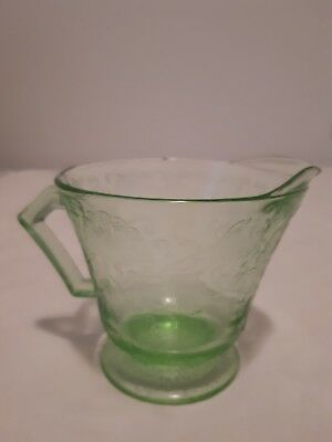 Vintage Green Depression Glass Creamer with Beautiful design