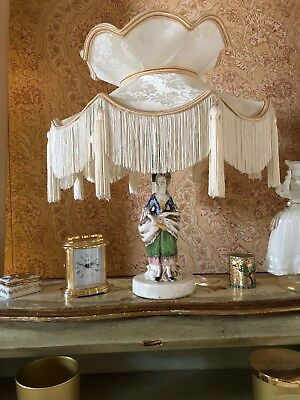 Vintage Victorian deco traditional Downton Abbey lady lamp+an ivory lampshade