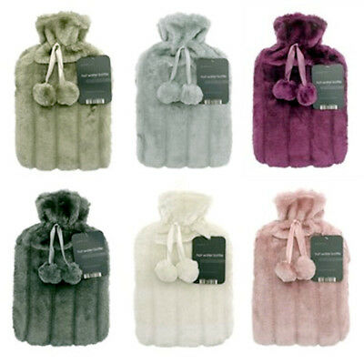 Luxury Cosy Faux Fur & Pom Pom Cover + Hot Water Bottle 2 Litre