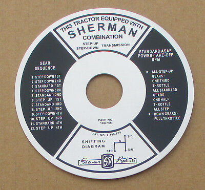 Sherman Transmission Instruction Plate For Ford Trans 700 701 740 741 800 801