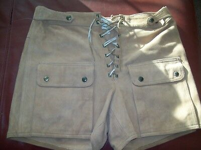 Vintage FRENCH Chrome Cuir Leather Shorts Womens/Mens Ex. Condition