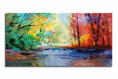 HH330 Large Hand-painted abstract knife oil painting Colourful Forest 24x48inch