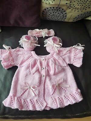 88b4339a577a BABY GIRLS HAND knitted Cardigan   Hat set