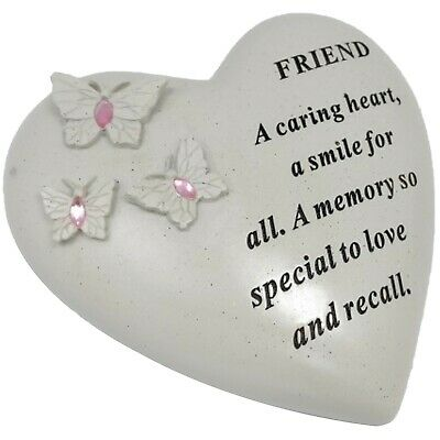 Special Friend Butterfly Gem Heart Graveside Memorial Ornament Stone Plaque New