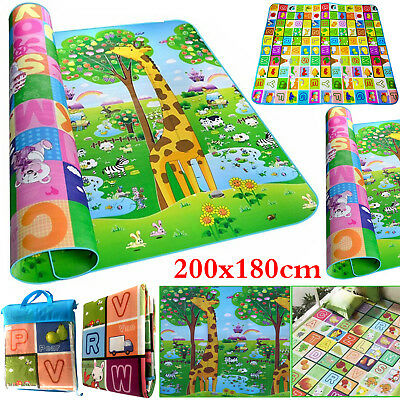 2 Sided Kids Crawling Baby Play Mat Educational Play Soft Foam Carpet 200x180cm
