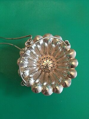 French Solid Silver Tea Strainer c1850