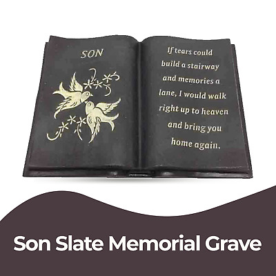 Slate Grey Son Memorial Book Dove Diamante Detail Grave Plaque Ornament Tribute
