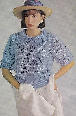 Collared Lace Top Pattern For Machine Knitting