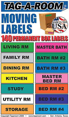 Home Moving Packing Box Clear Stickers Coded Color Labels 140 Count Organize Set