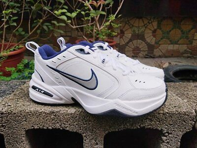 New Box Mens Air Monarch IV Training Shoes Medium White/Silver/Navy