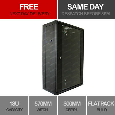 18U Server Rack Data Network Cabinet Double Side 19 inch 570 x 300mm Black