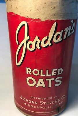 Vtg Store Jordan's BRAND ROLLED OATS CARDBOARD CONTAINER Minneapolis Minnesota