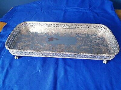 A Large Vintage Silver Plated Gallery Tray In Clawed Legs by viners of sheffield