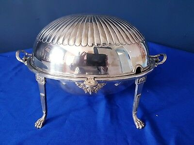 An Antique Silver Plated Roll lid Over Breakfast Dish With Semi Fluted Pattern.