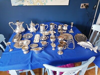A Job Lot Of 33 Vintage Silver Plated Items.9 Kgs In Weight.