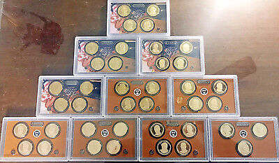 Complete Presidential Dollar Proof Set 2007-2016-S, 39 Coins Mint Packaging NICE