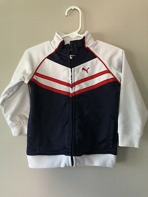 b9ae916d0c5a Puma Baby BOYS size 24m Toddler Zip Up Jacket Navy Blue White W  Red