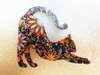 Cat Kitten Stretching Large Multicolor Acrylic Pin Brooch Jewelry