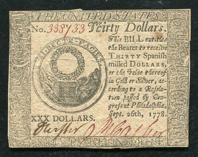 Cc-83 September 26, 1778 $30 Thirty Dollars Continental Currency Note