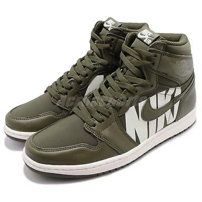 b33f9ef29e9f1e Nike Air Jordan 1 Retro High OG Big Logos Olive Canvas Sail AJ1 Men 555088-