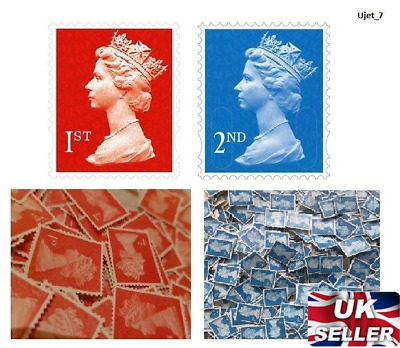 50, 100, 200, 250, 500, 1000 1st & 2nd Class Unfranked Stamps Off Paper No Gum